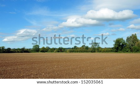 Landscape View of Ploughed Farmland in the English Countryside - stock photo
