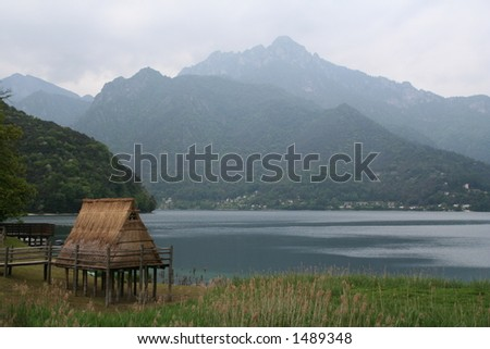 Landscape View of Primitive Thatched Hut in an open Air Museum.