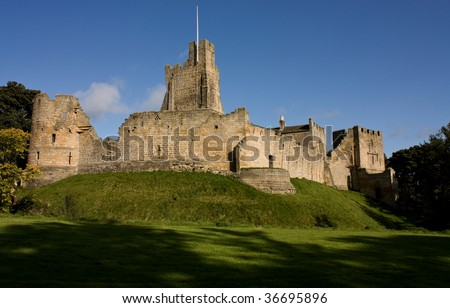 landscape view of Prudhoe Castle, Northumberland, England. - stock photo