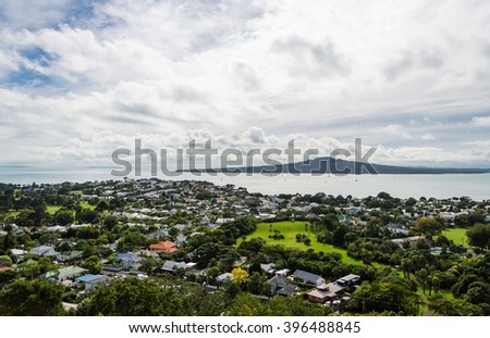 Landscape view of Rangitoto island from Mt. Victoria, Devonport - stock photo