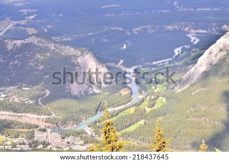 Landscape view of Rocky Mountains and Bow river valley in Banff National park. Alberta, Canada - stock photo