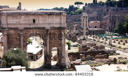 Landscape view of roman forum in Rome, Italy - stock photo
