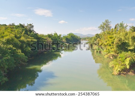 Landscape view of rural river in Thailand - stock photo