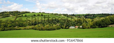 Landscape View of the Avon Valley on the Wiltshire Somerset Border near Bath in England - stock photo