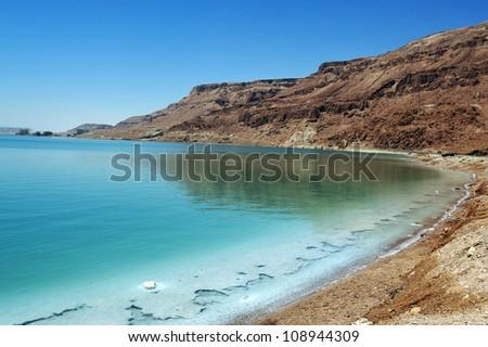 Landscape view of the Dead Sea coastline. Dead Sea, Israel. - stock photo