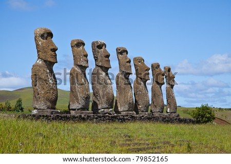 Landscape view of the Easter Island statues