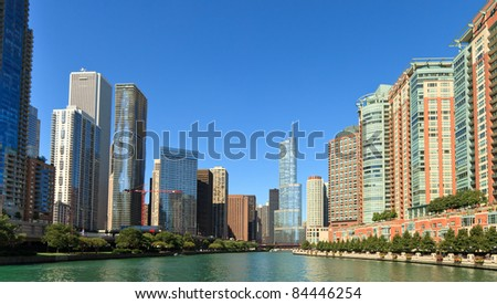 Landscape view of the entrance to the Chicago River from Lake Michigan on a clear blue sky day.