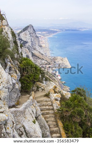 landscape view of the Rock of Gibraltar, Africa and the beaches in Gibraltar - stock photo