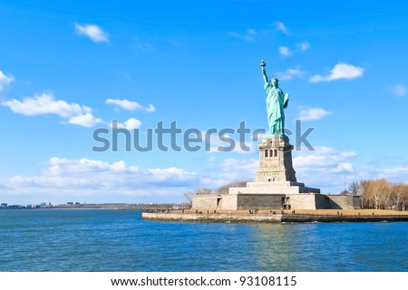 Landscape view of The Statue of Liberty - stock photo