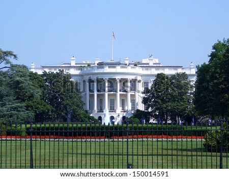 Landscape view of the White House in Washington DC - stock photo