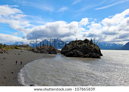 Landscape view of Turnagain Arm near Anchorage Alaska - stock photo