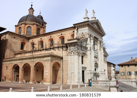 Landscape view of Urbino Cathedral, Italy - stock photo