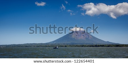 Landscape view of volcano Conception on Ometepe Island, Nicaragua from the sea. - stock photo