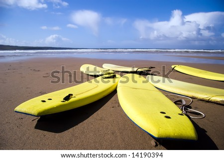 Landscape view of yellow surfboards resting on beach with blue sky in background.