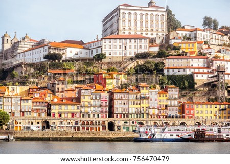 Landscape view on the riverside with beautiful old buildings in Porto city, Portugal