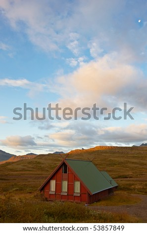 Landscape view with one beautiful cottage in the east of Iceland