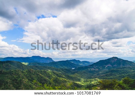 Landscape view with the sky in the background wide angle panorama