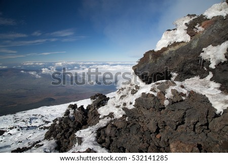 Landscape volcano Etna, between snow and lava flows
