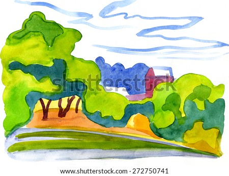 Landscape watercolor drawing with trees under the water and house far away
