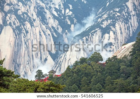 Landscape with a gazebo in the Chinese style among the steep cliffs of Huashan mountains, China.