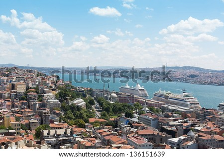 Landscape with a lot of homes, the river and the ships - stock photo