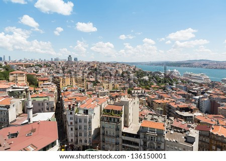 Landscape with a lot of homes, the river and the ships against blue sky - stock photo