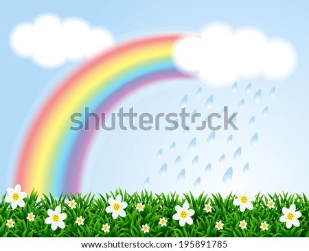Landscape with a rainbow and camomiles.  Raster version. - stock photo