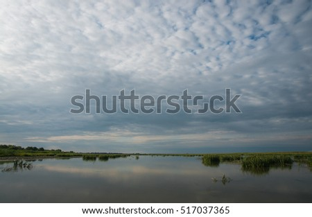Landscape with a river of central Russia, Volga delta
