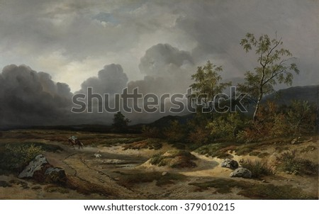 Landscape with a Thunderstorm Brewing, by Willem Roelofs 1st, 1850, Dutch painting, oil on canvas. A horseman endures winds of the coming thunder-storm in this Romantic landscape. - stock photo