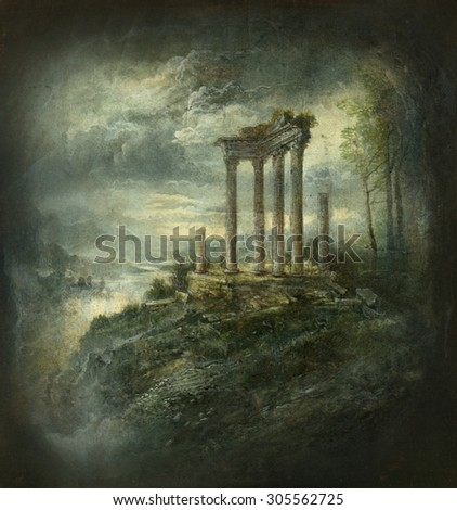 Landscape with ancient ruins - stock photo