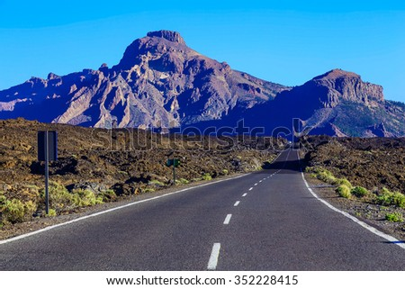 Landscape with Asphalt Road and Mountains on Canary Island in Spain