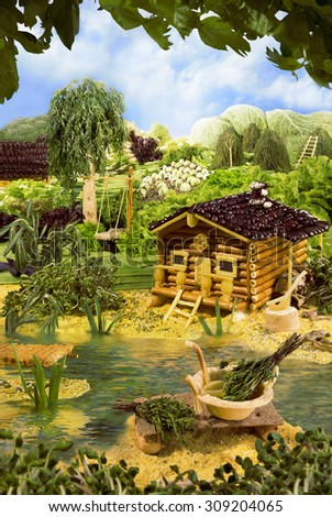 Landscape with bathhouse made from breadsticks, macaroni, snacks and others different foods. Handiwork. The image is made from multiple files.