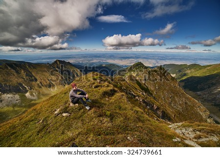 Landscape with beautiful mountain view in the summer - stock photo