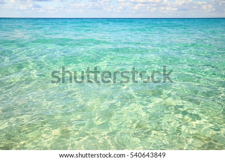 Landscape with clear water of Atlantic ocean and clouds above the horizon