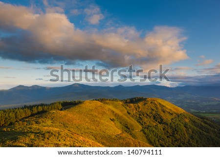 Landscape with cloudy sky on sunset, Sorrondegi, Truc���­os, Bizkaia, Spain - stock photo