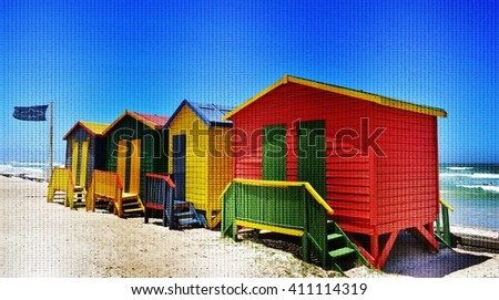 Landscape with colorful changing huts on a beach in Muizenberg