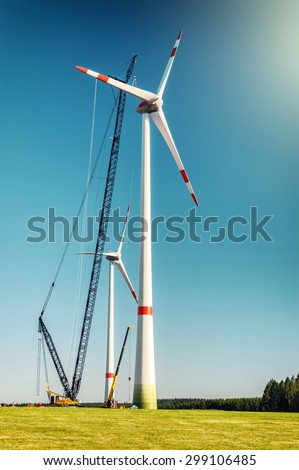 Landscape with construction site of wind turbines. Industrial concept - stock photo