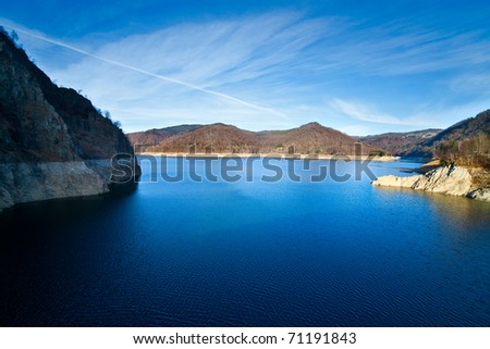 Landscape with dam lake Vidraru, in Romania
