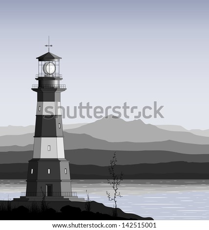 Landscape with detailed lighthouse, mountain range and sea. Raster version of the illustration. - stock photo