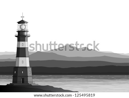 Landscape with detailed lighthouse, mountains and sea. Raster version of the illustration. - stock photo