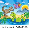 Landscape with dinosaurs 1 - color illustration. - stock vector