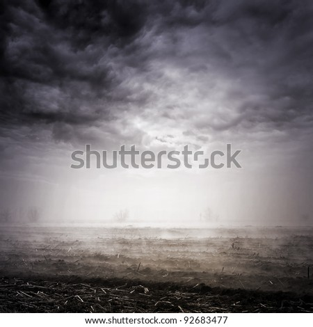 landscape with dramatic sky - stock photo