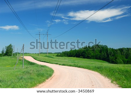 Landscape with electric wires
