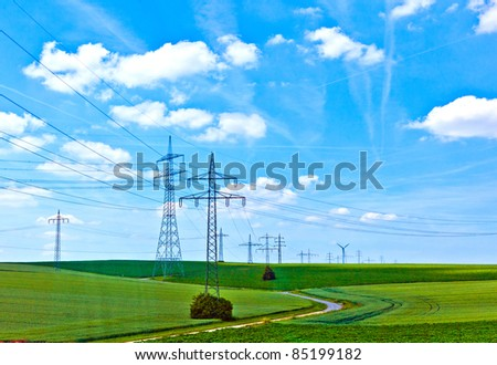 landscape with electrical tower