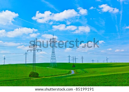 landscape with electrical tower - stock photo