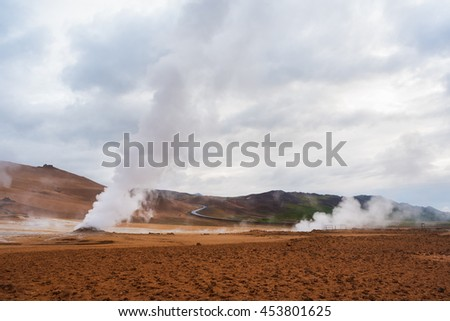 Landscape with eruption steam. Geothermal area Namafjall, Iceland, Europe. Overcast day - stock photo