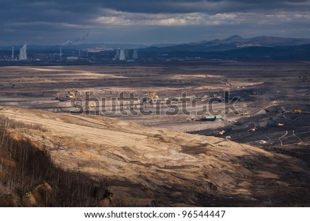 Landscape with extractive industry near Most in Czech republic - stock photo