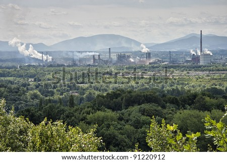 Landscape with Factory - stock photo