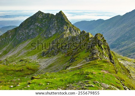Landscape with Fagaras rocky mountains in Romania