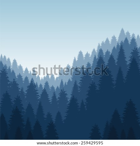 landscape with forest - stock photo